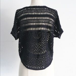 Vintage Tops - vintage black crochet open weave lace crop top